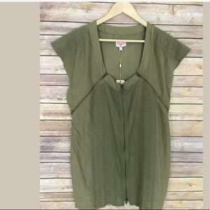 Tracy Reese olive green  embroidery silk dress M